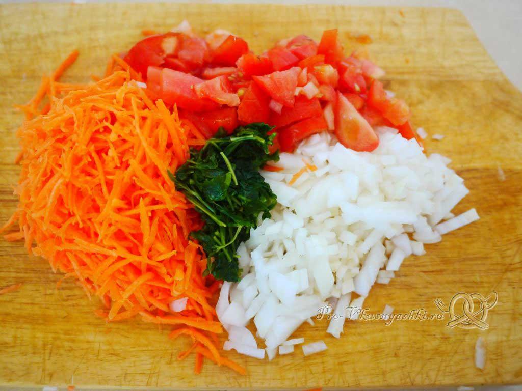Гречка с грибами в горшочке - нарезка овощей