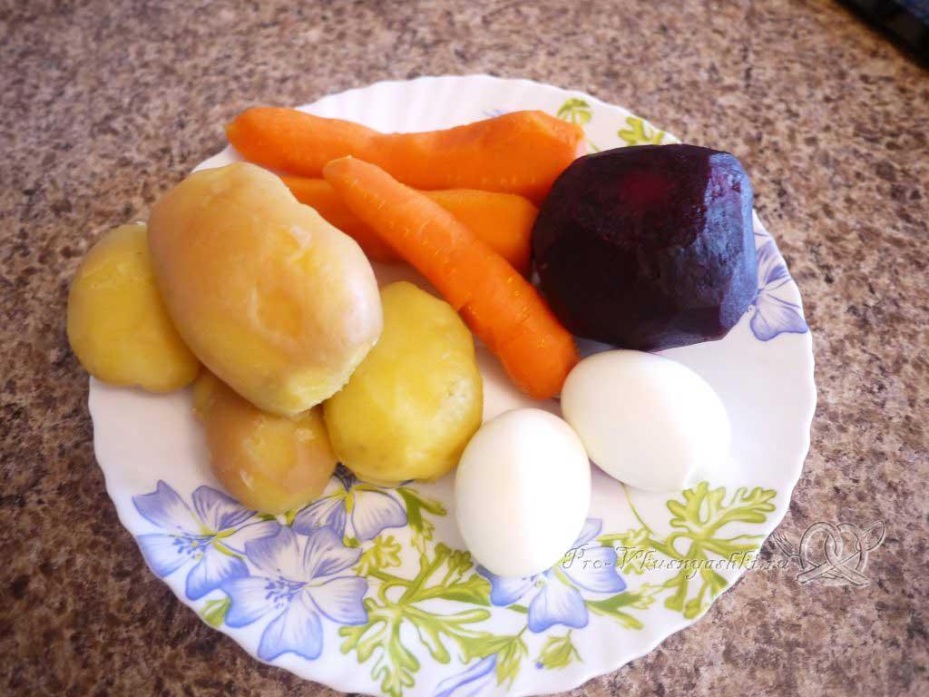 Селедка под шубой - очищенные продукты
