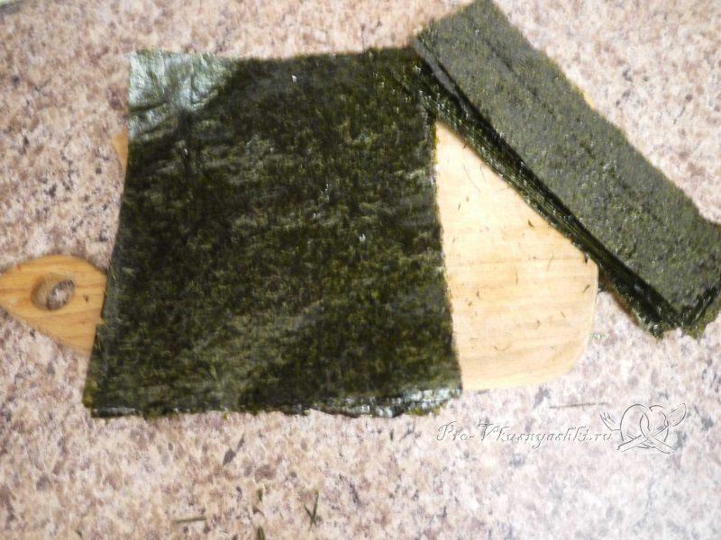 Суши - роллы домашние с рыбой, яйцом и огурцом - подготовка нори