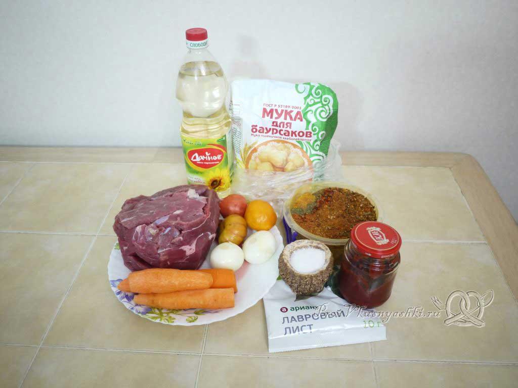 Гуляш из говядины с подливкой на сковороде - ингредиенты
