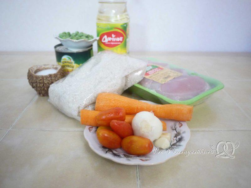 Ризотто - рис с курицей и овощами - ингредиенты