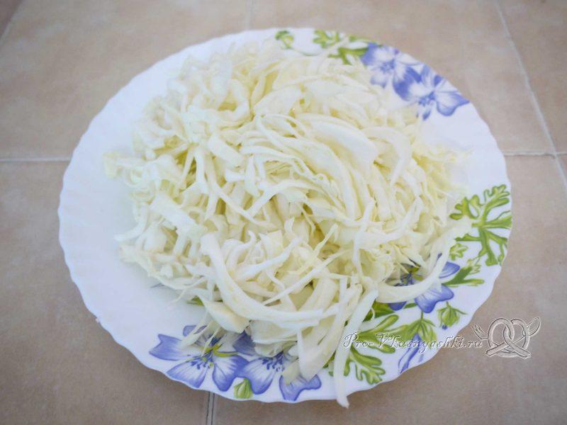 Щи постные со свежей капустой - шинкуем капусту