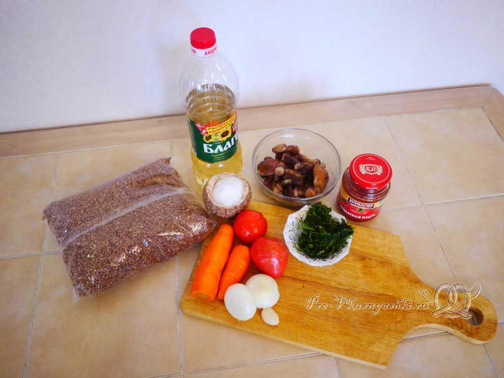 Гречка с грибами в горшочке - ингредиенты для приготовления