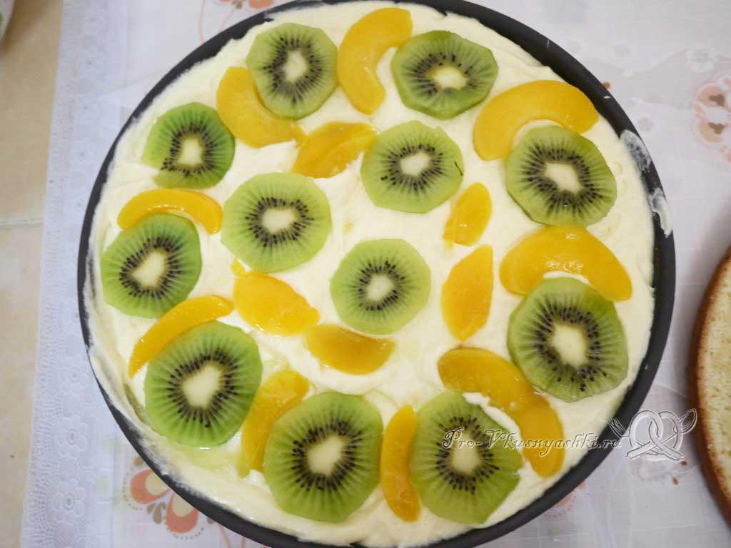 Бисквитный торт Муслин - фрукты на крем