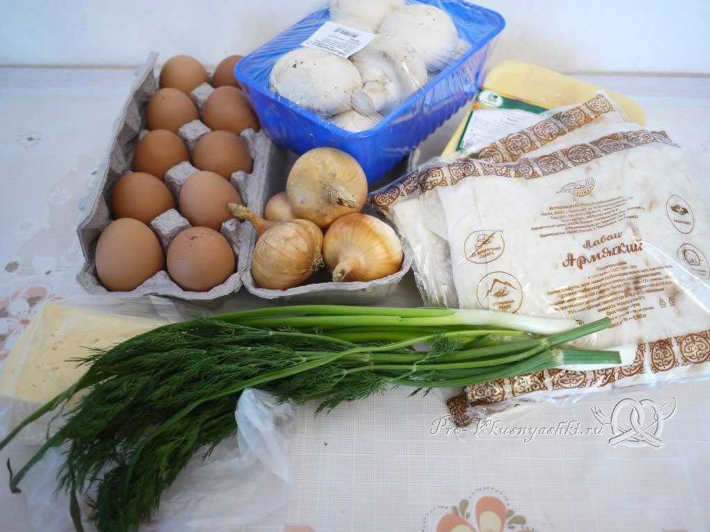 Рулет из лаваша с грибами, яйцом, курицей и сыром - ингредиенты