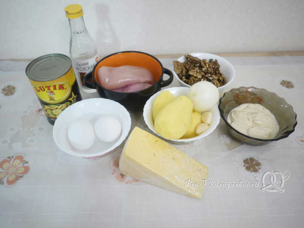 Салат «Мечта» с курицей, картофелем и грибами - ингредиенты