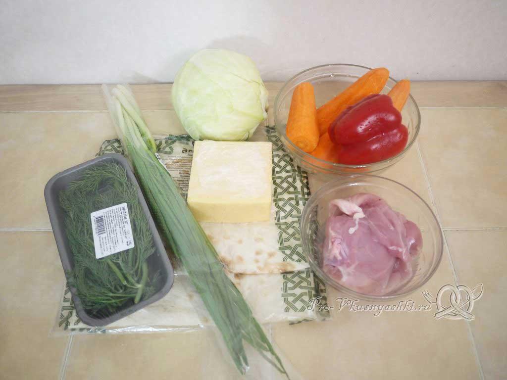Рулет из лаваша с корейской морковью, капустой и курицей - ингредиенты