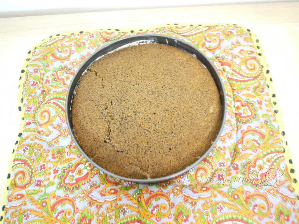 Маковый торт с йогуртом и шоколадом - третий слой