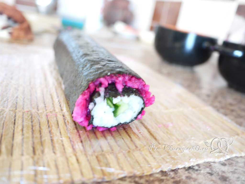 Роллы мозаика в домашних условиях - сворачиваем ролл с красным рисом