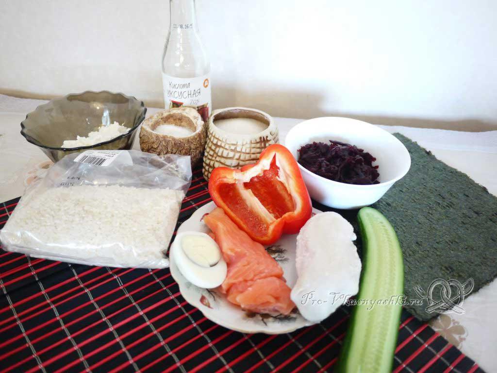 Роллы мозаика в домашних условиях - ингредиенты