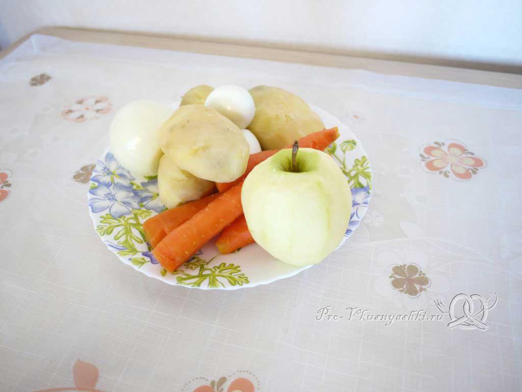 Салат зимний «Оливье» - подготовленные ингредиенты