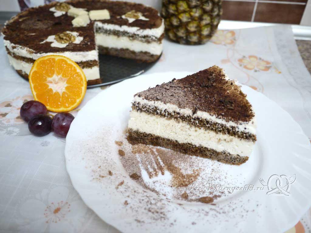 Маковый торт с йогуртом и шоколадом - подача