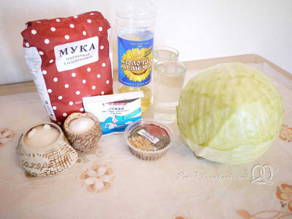 Постный пирог с капустой - ингредиенты