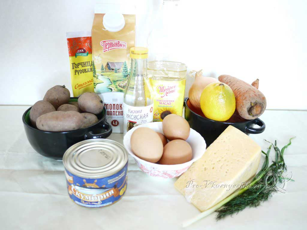 Салат Мимоза с сыром и яйцом - ингредиенты