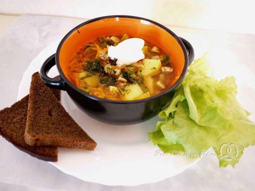 Грибной суп из шампиньонов - подача