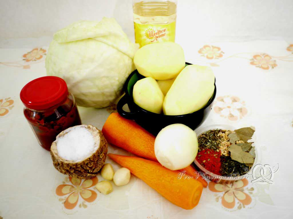 Тушеная капуста с картофелем - ингредиенты