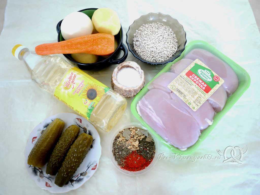 Рассольник с перловкой и курицей - ингредиенты