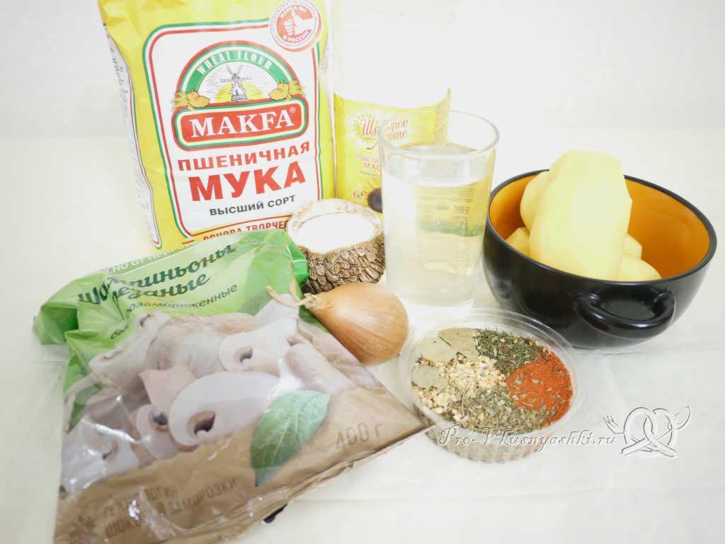 Постные вареники с картошкой и грибами - ингредиенты
