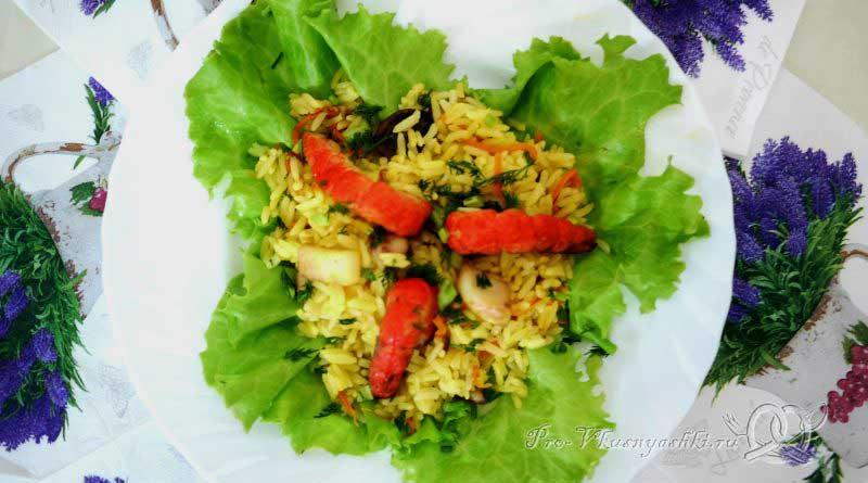 Паэлья - рис с морепродуктами - подача