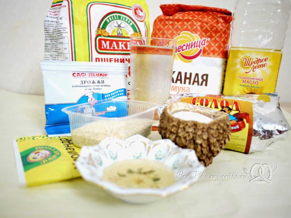 Бородинский хлеб в духовке - ингредиенты