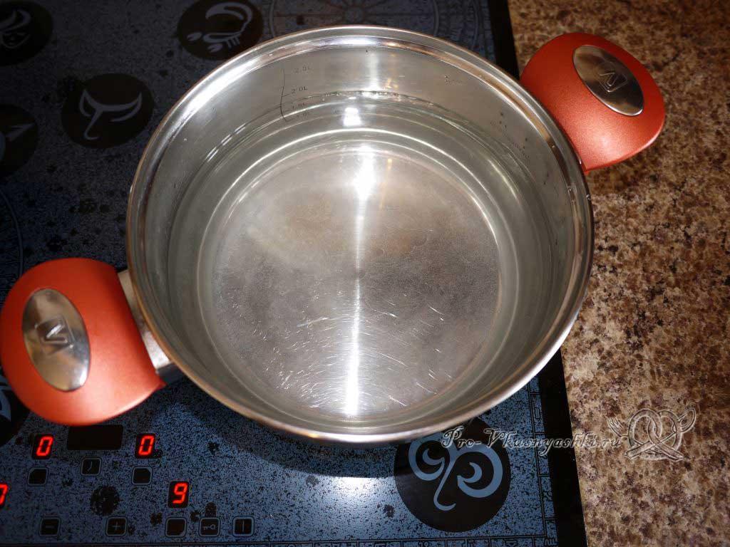 Постный овощной суп - греем воду