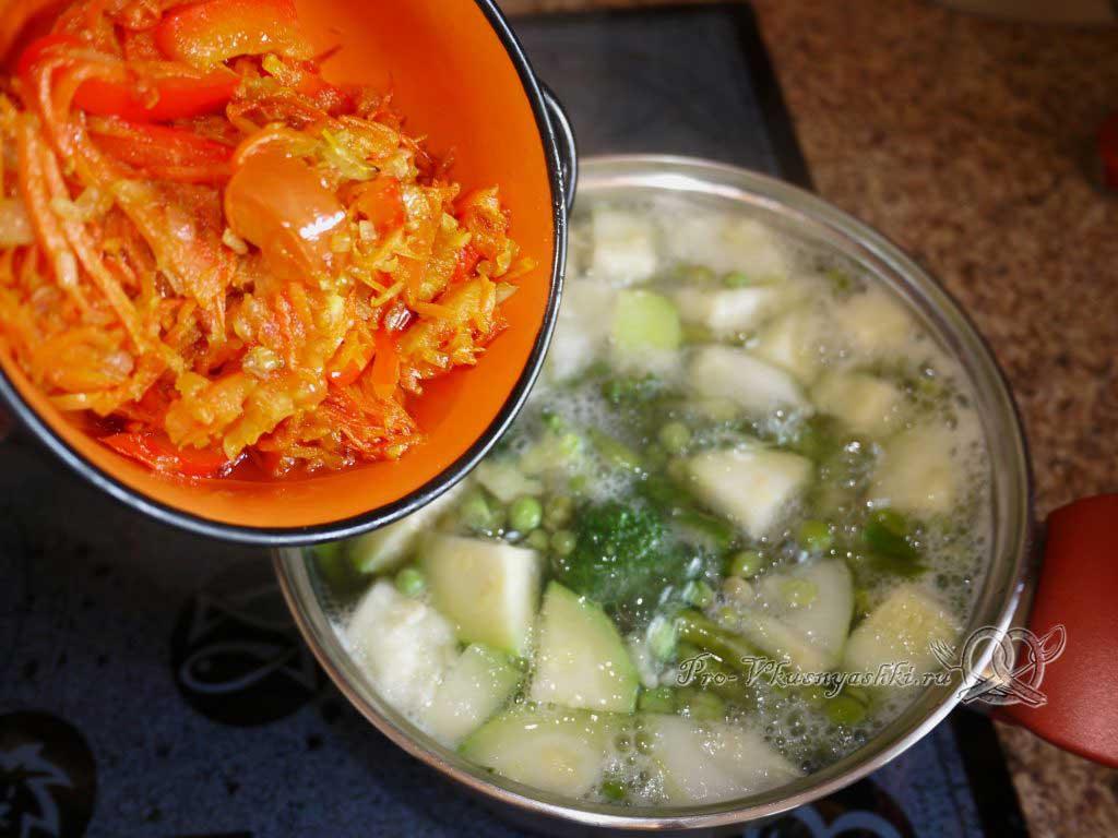 Постный овощной суп - добавляем зажарку