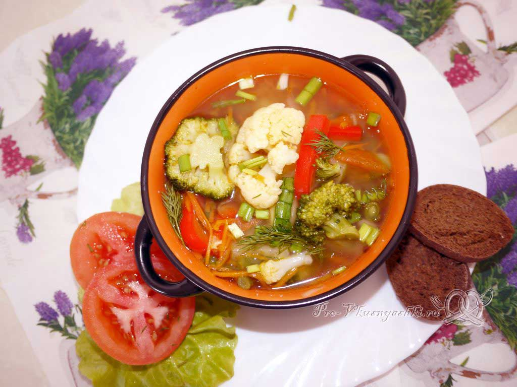 Постный овощной суп - подача