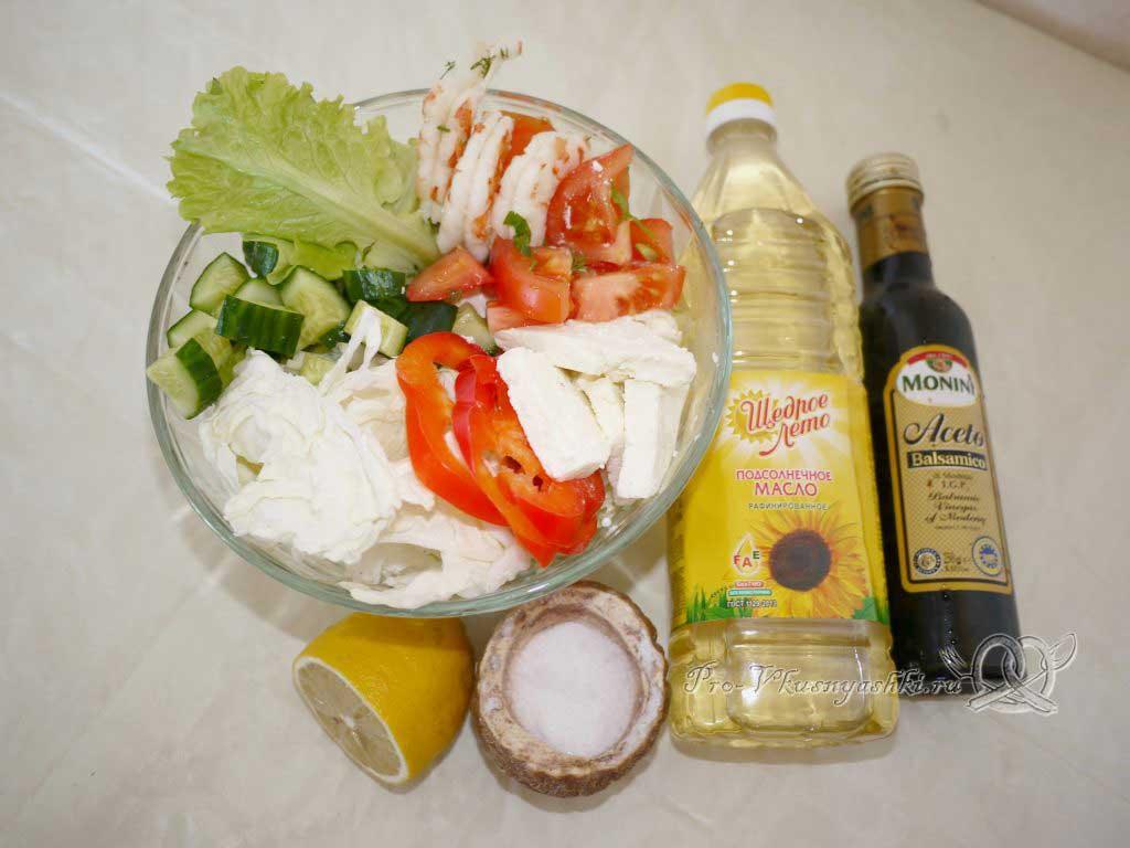 Овощной салат с креветками и сыром - заправляем салат