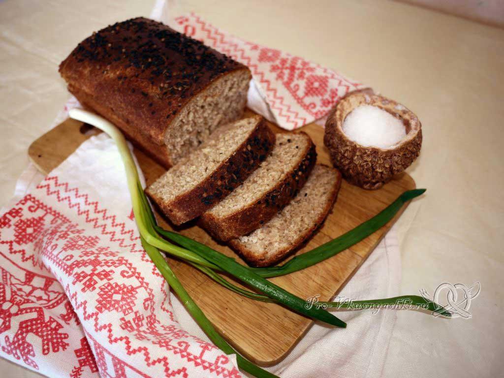 Постный пшеничный хлеб с отрубями - нарезаем