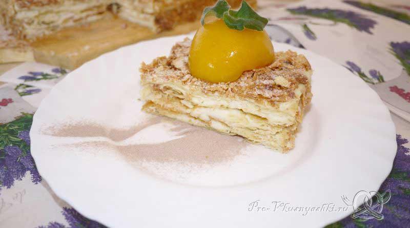 Торт Наполеон классический с заварным кремом - подача