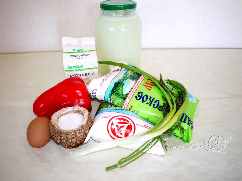 Домашний сыр с зеленью и сладким перцем - ингредиенты