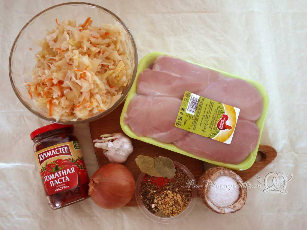 Тушеная квашеная капуста с курицей на сковороде - ингредиенты