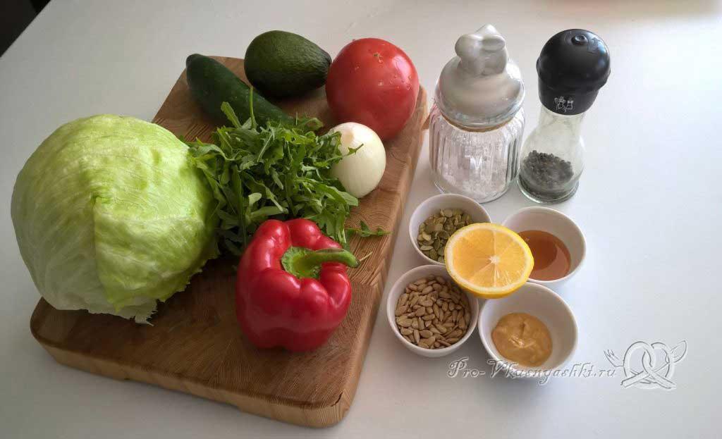 Легкий салат с медово-горчичной заправкой - ингредиенты