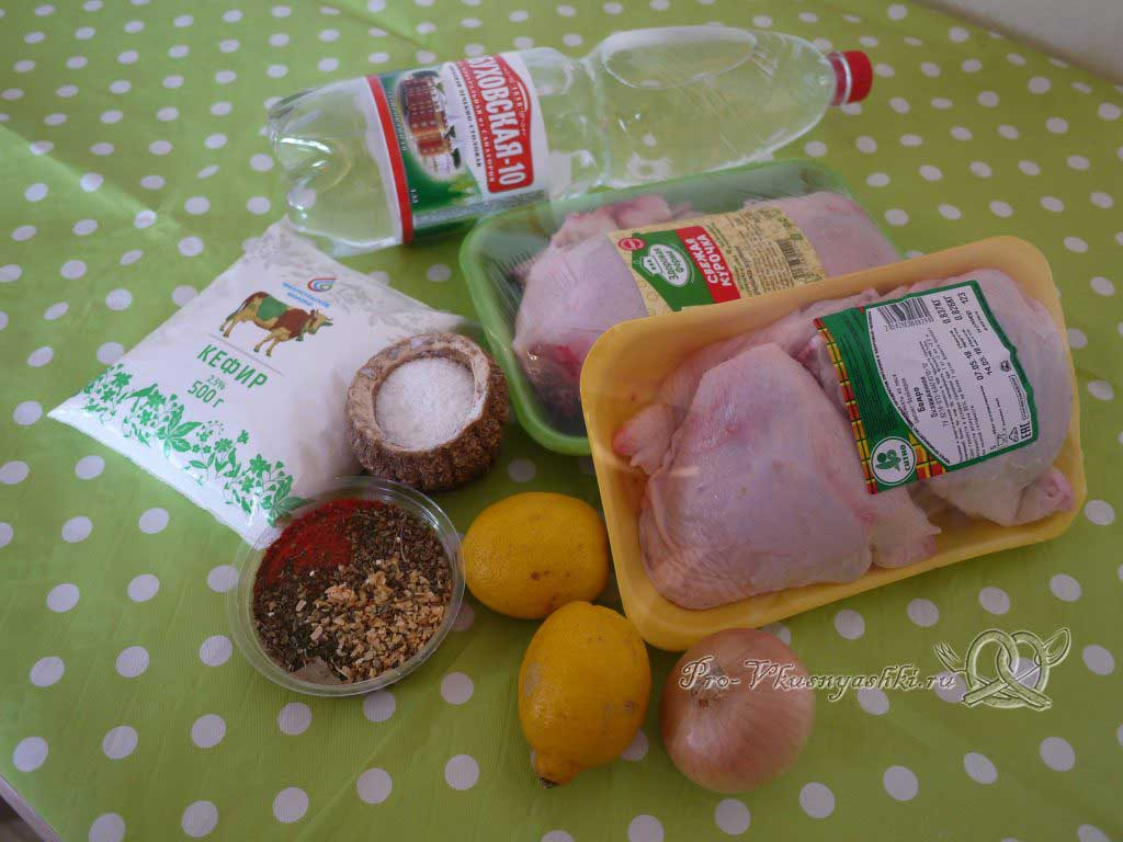 Шашлык из курицы, маринованный в лимонном соке - ингредиенты