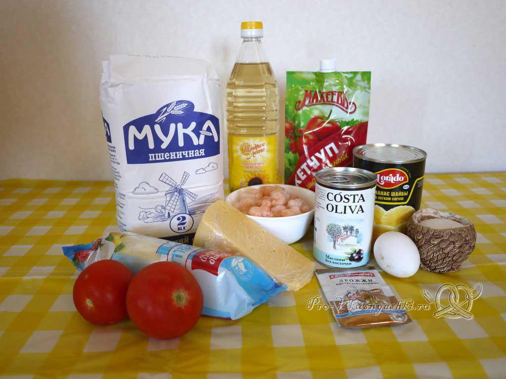 Пицца Графская с ананасами и креветками - ингредиенты