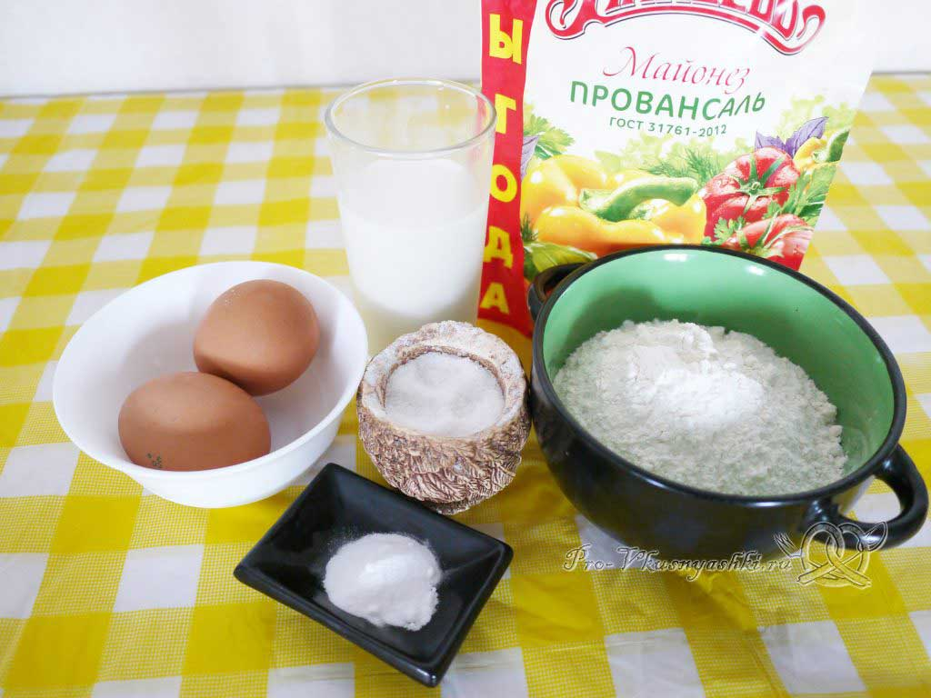 Быстрые оладьи с майонезом и молоком - ингредиенты