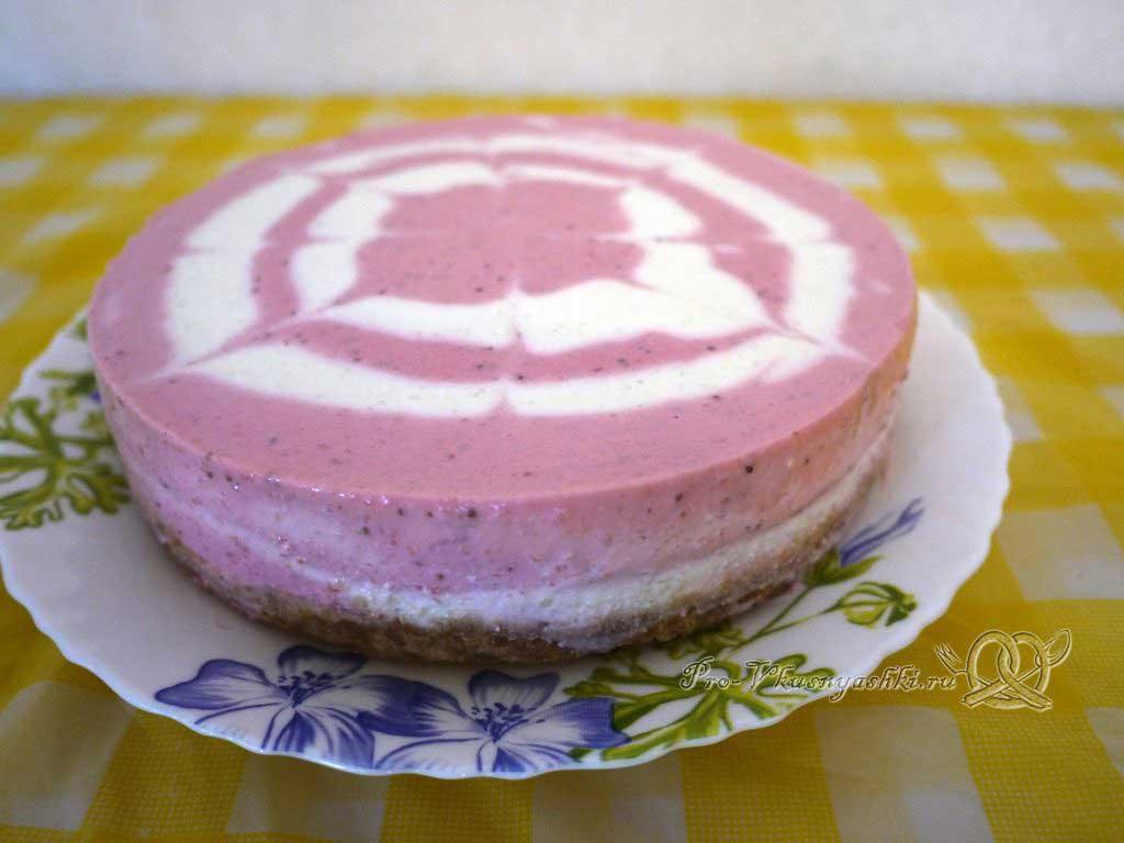 Творожный чизкейк без выпечки «Розовая зебра» - готовый чизкейк