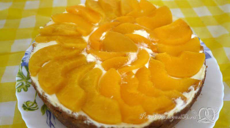 Нежный творожный чизкейк с персиками - готовый чизкейк