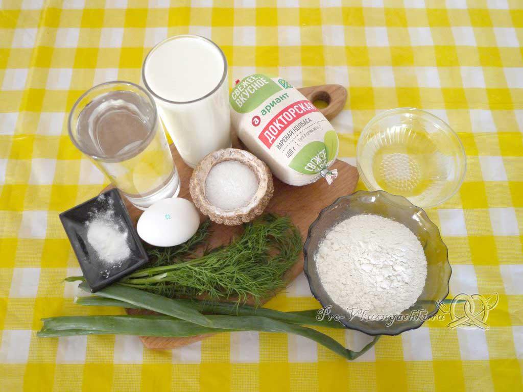 Оладьи с колбасой и зеленью на кефире - ингредиенты