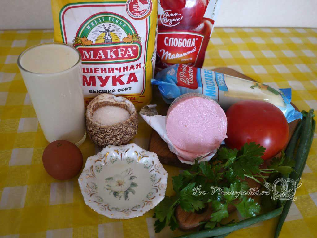 Пицца с помидорами и вареной колбасой - ингредиенты