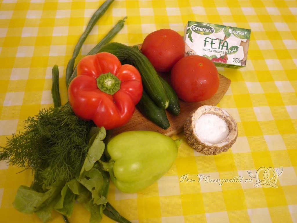 Шопский салат с огурцами, помидорами и болгарским перцем - ингредиенты