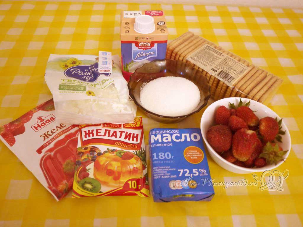 Творожный чизкейк с клубникой без выпечки - ингредиенты