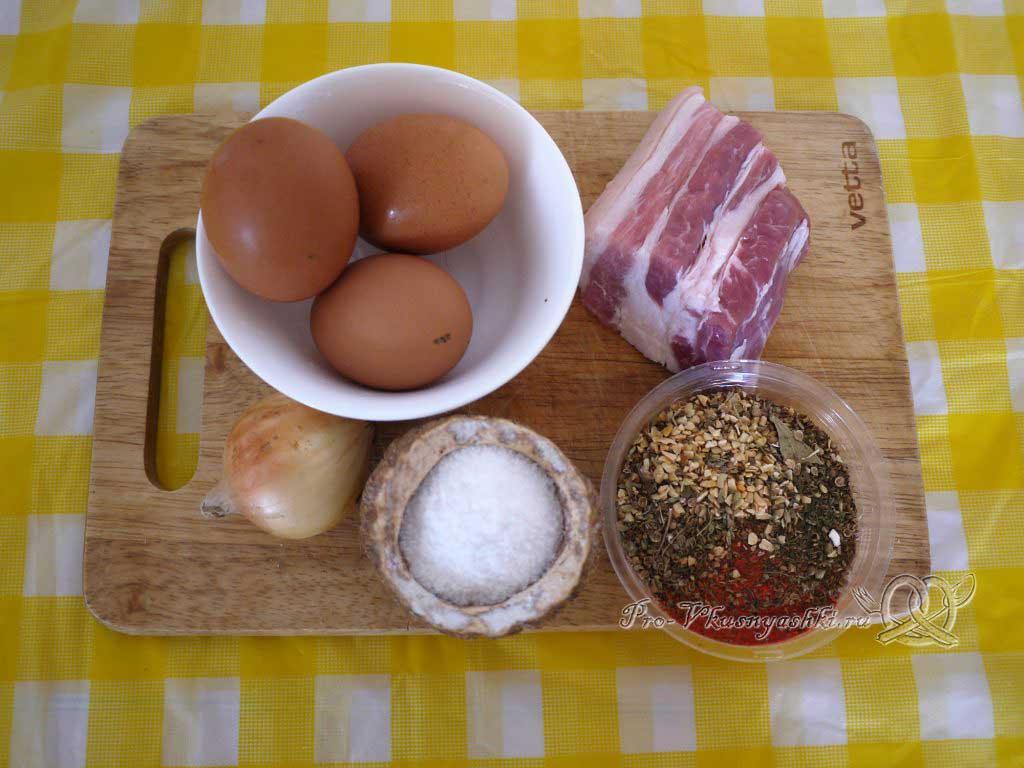 Яичница с беконом и луком - ингредиенты