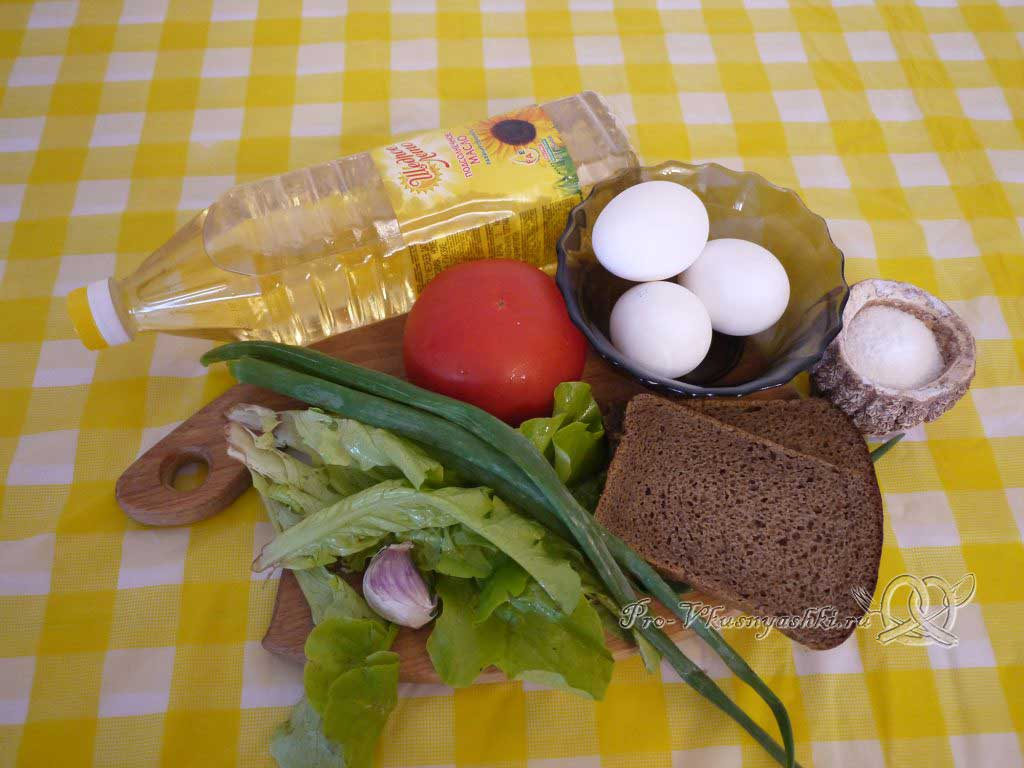 Яичница с помидорами и гренками - ингредиенты