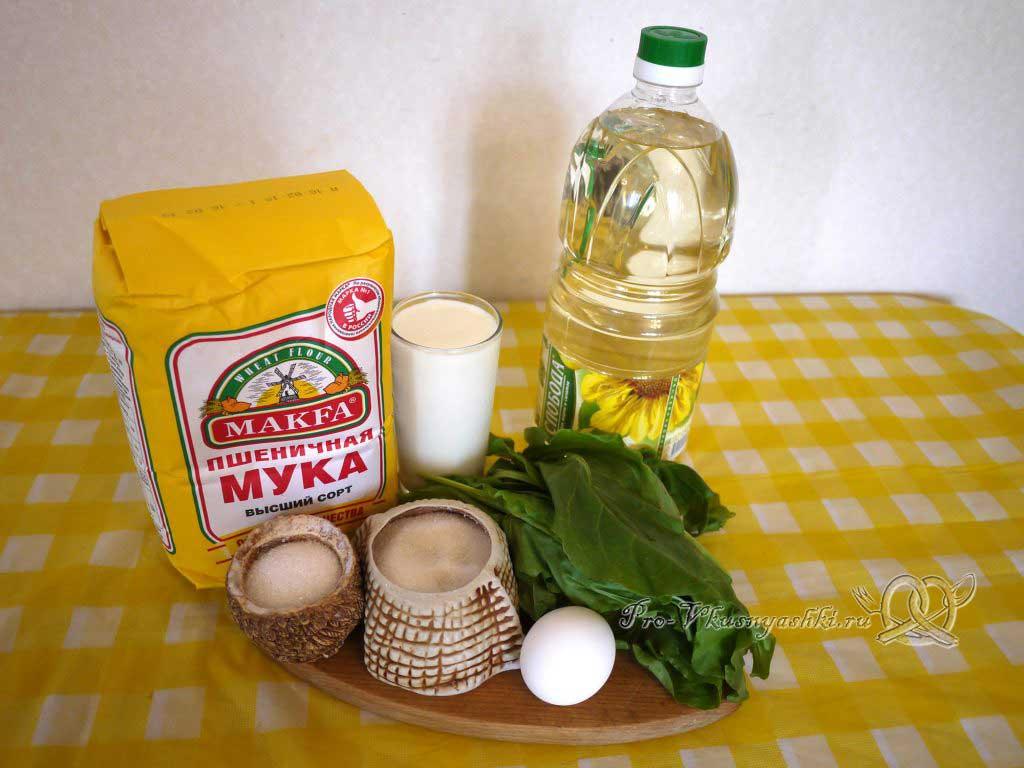 Пирожки с щавелем жареные на сковороде - ингредиенты