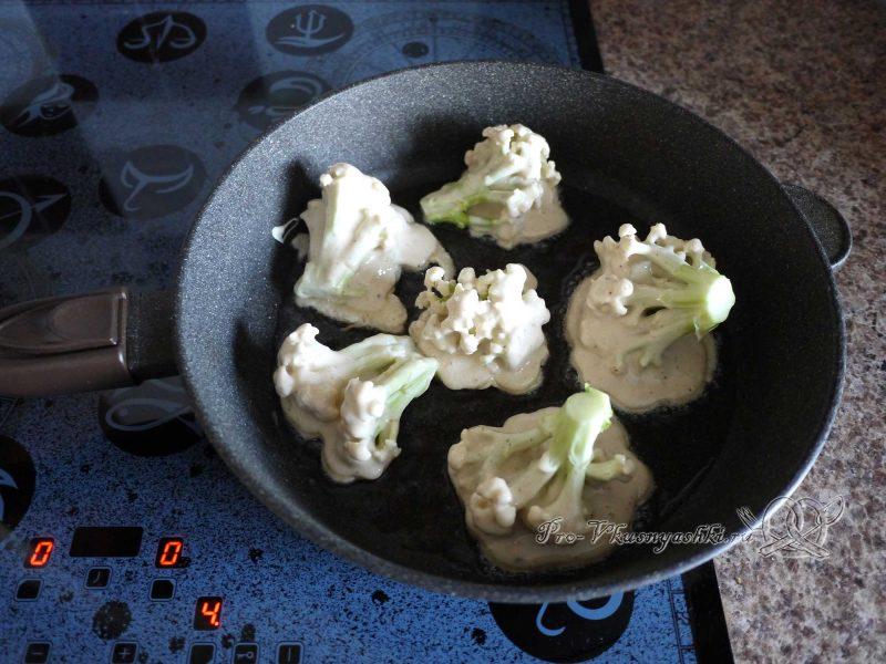 Цветная капуста в кляре на сковороде - жарим капусту с одной стороны