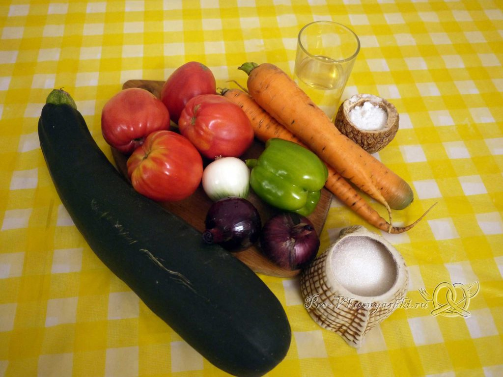 Кабачковая икра с помидорами на зиму - ингредиенты