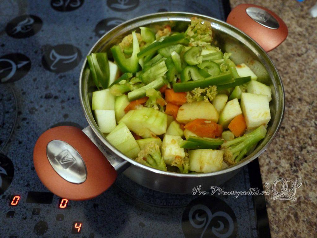 Овощное рагу с кабачками и мясом - тушим перец