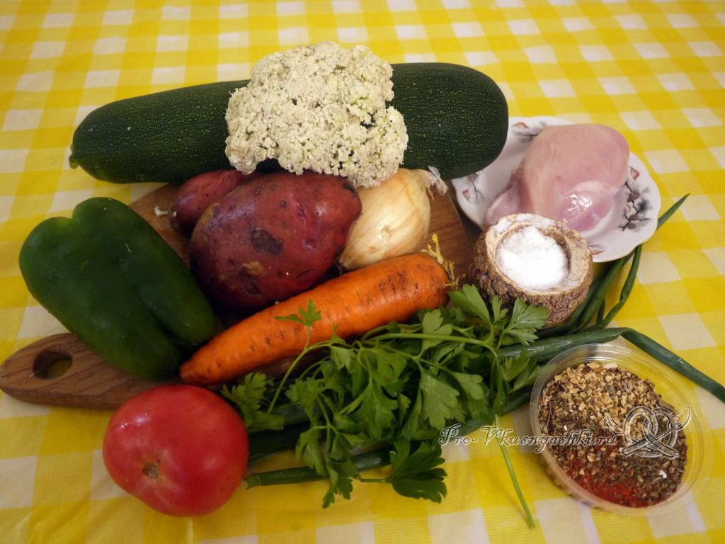 Овощное рагу с кабачками и мясом - ингредиенты