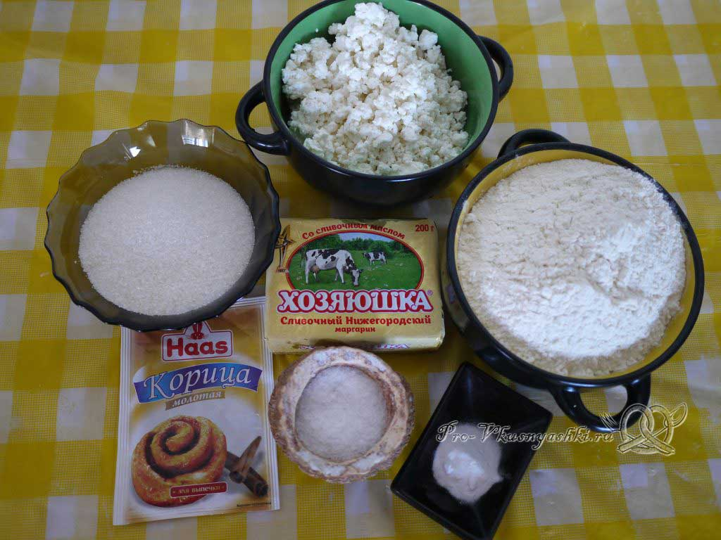 Творожное печенье Треугольники с сахаром - ингредиенты